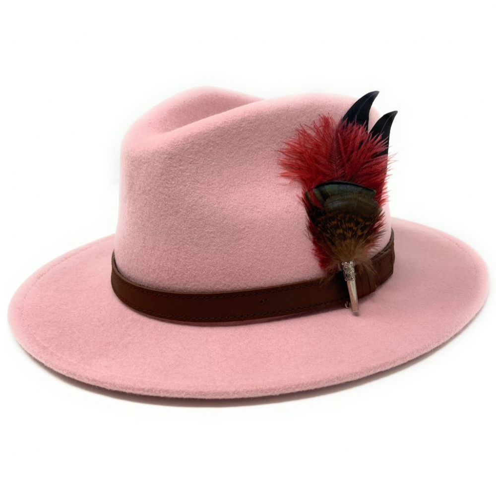 Womens Baby Pink Wool Fedora Hat with Removable Ostrich Feather Brooch - Hidcote